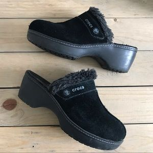 Black Suede Croc Clogs